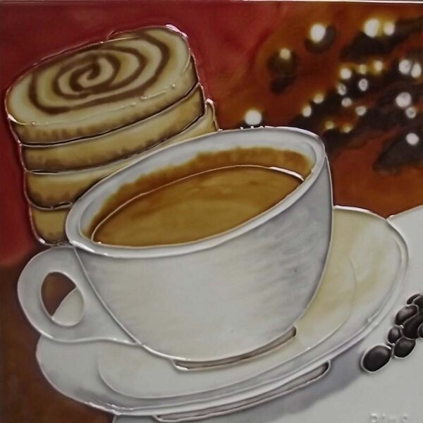 Coffee with Cinnamon Bun Tile Wall Decor by Continental Art Center