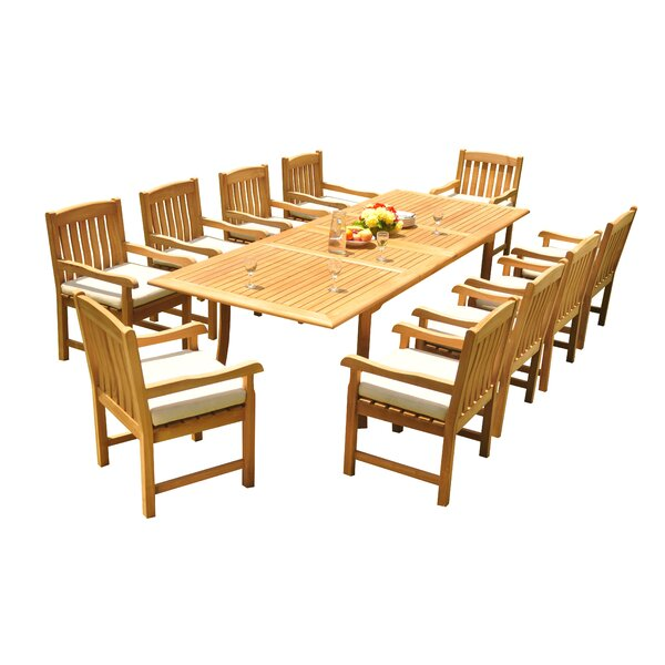 Mateer 11 Piece Teak Dining Set by Rosecliff Heights