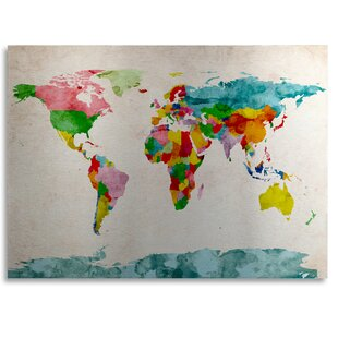 World map scratch off wayfair watercolor world map by michael tompsett graphic art on metal gumiabroncs Image collections
