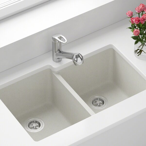 Granite Composite 32 L x 20 W Double Basin Undermount Kitchen Sink by MR Direct