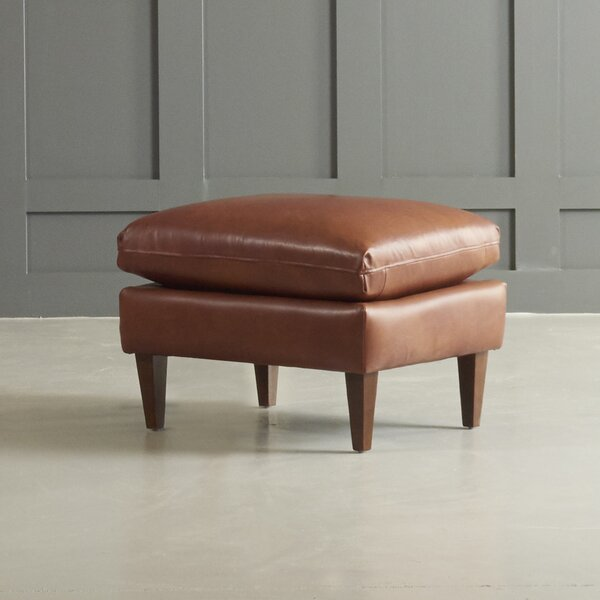 Florence Leather Ottoman by DwellStudio