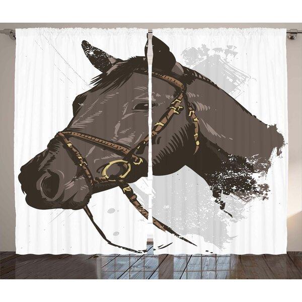 Bishopville Equestrian Graphic Print & Text Semi-Sheer Rod Pocket Curtain Panels (Set of 2) by Latitude Run