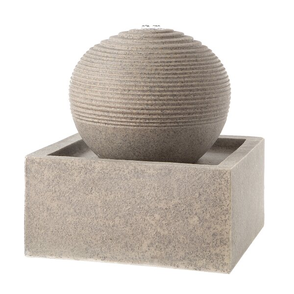 Resin Square Base Orb Top Fountain With Light by Darice