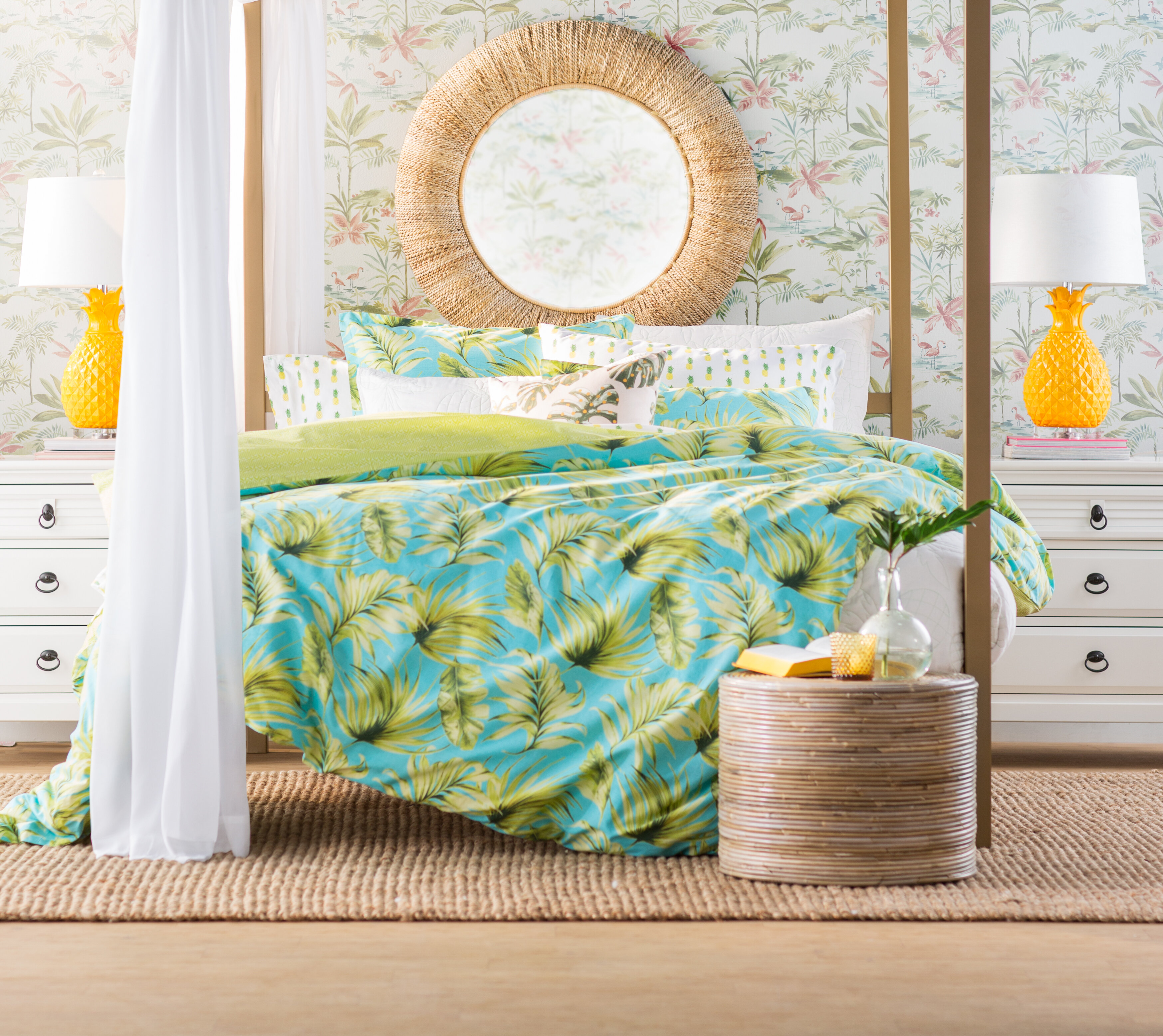 bed with tropical bedspread