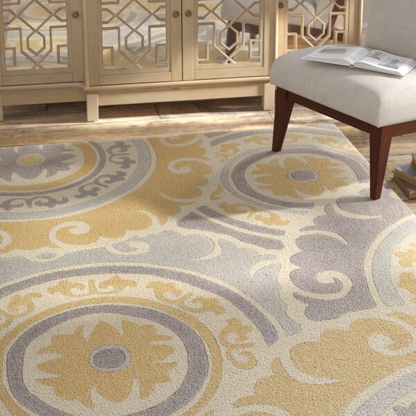 Tripolia Hand-Tufted Gold/Ivory Area Rug by Bungalow Rose