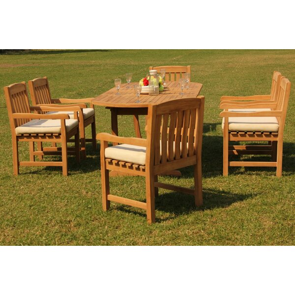 Duboce 7 Piece Teak Dining Set by Rosecliff Heights