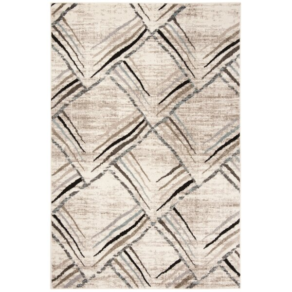 Quiros Cream/Charcoal Area Rug by Orren Ellis