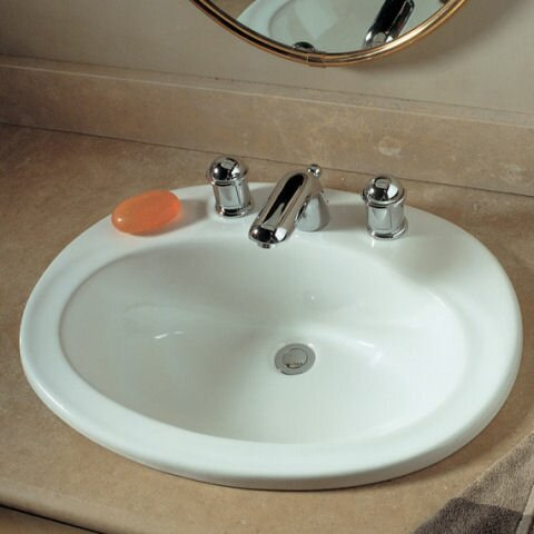 Piazza Ceramic Oval Drop-In Bathroom Sink with Overflow by American Standard