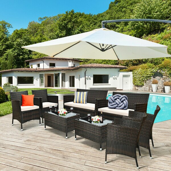 Hazardville 8 Piece Rattan Sofa Seating Group with Cushions by Ebern Designs