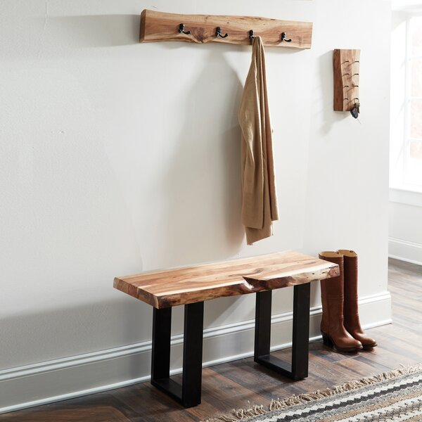 Bexton Live Edge Coat Hook and Bench Set Hall Tree by Foundry Select Foundry Select