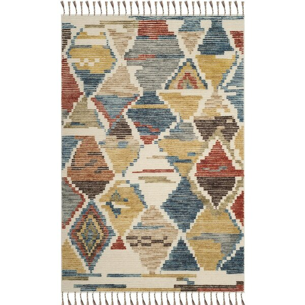 Glenoe Hand-Knotted Red/Blue Area Rug by Bloomsbury Market