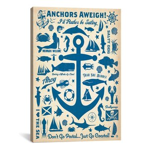 'Anchors Aweigh!' Graphic Art Print by Beachcrest Home