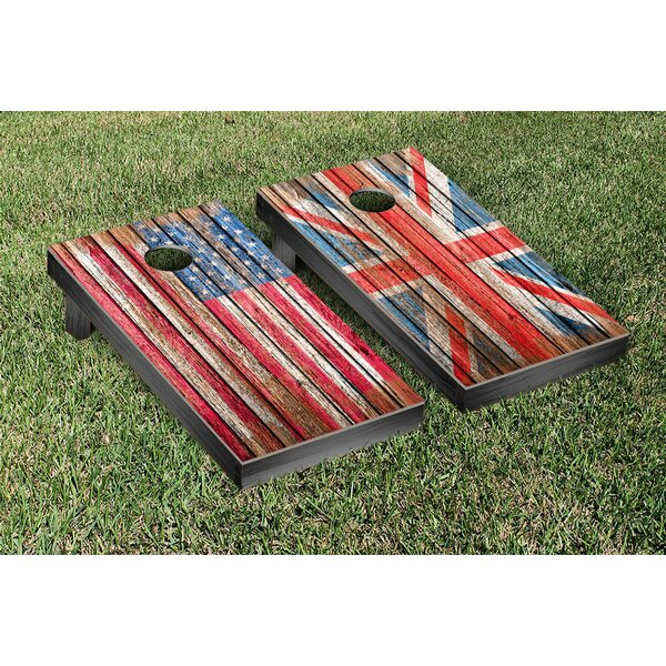 US and UK Flags Distressed Wood Cornhole Game Set by Victory Tailgate