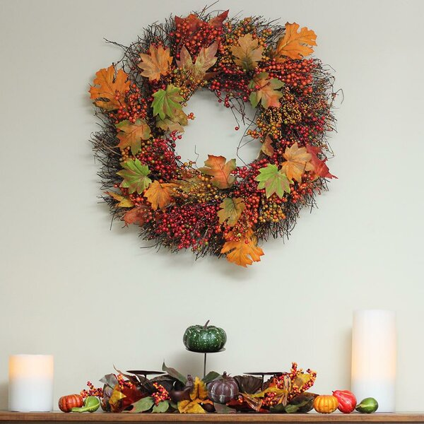 Autumn Harvest Thanksgiving 22 Maple Leaf and Berry Artificial Floral Wreath by August Grove