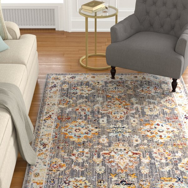 Sam Distressed Vintage Taupe/Ivory Area Rug by Charlton Home