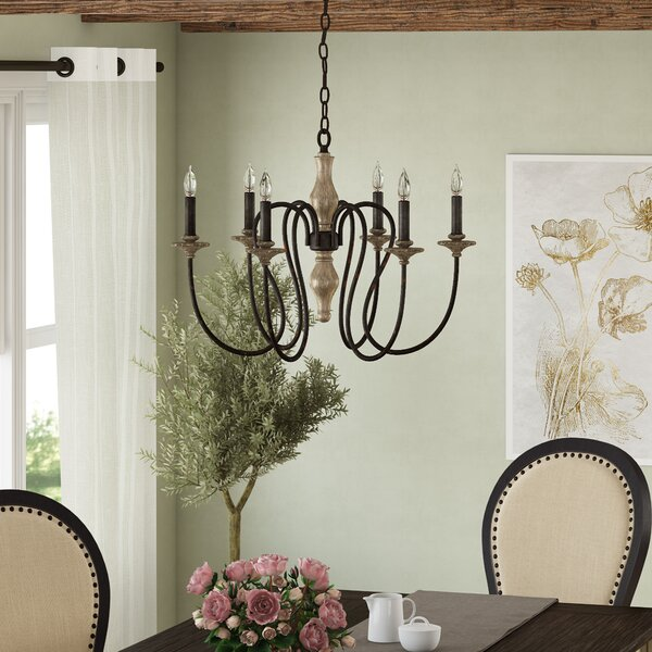 Ismaeil 6 - Light Candle Style Classic / Traditional Chandelier by Ophelia & Co. Ophelia & Co.