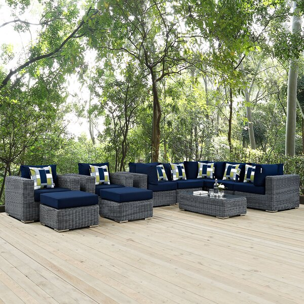 Keiran 10 Piece Sunbrella Sectional Set with Cushions by Brayden Studio