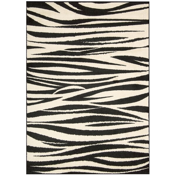 Pimm Black/White Area Rug by Bloomsbury Market