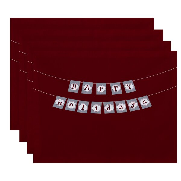 Happy Holidays Banner Print Placemat (Set of 4) by The Holiday Aisle