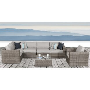 Vardin 7 Piece Rattan Sectional Set with Cushions By Rosecliff Heights