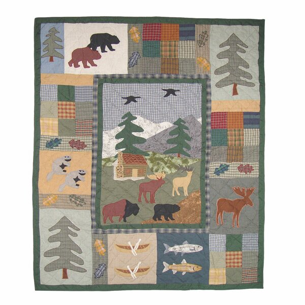 Northwoods Walk Cotton Throw Quilt by Patch Magic