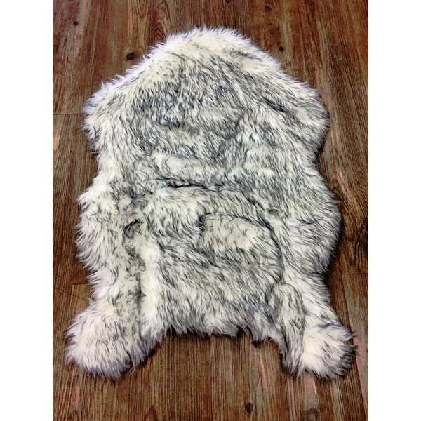 Hein Faux Fur White/Gray Indoor Area Rug by Mercer41