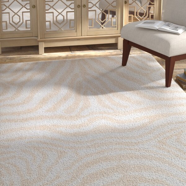Zebrowski Shag Hand-Tufted Ivory/Cream Area Rug by Bloomsbury Market