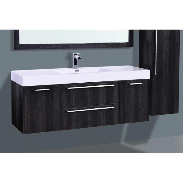 Sandifer 60 Wall-Mounted Single Bathroom Vanity Set with Mirror by Orren Ellis