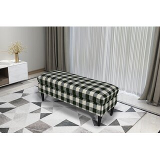 Gracie Oaks Bradford Large Decorative Bench With Pillow Top in , Woven Charcoal Plaid by Gracie Oaks SKU:EA696325 Check Price