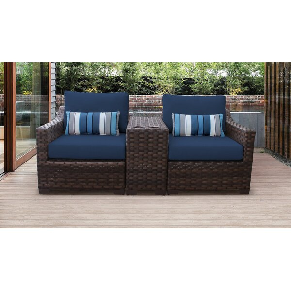 River Brook 3 Piece Outdoor Wicker Patio Furniture Set 03b by kathy ireland Homes & Gardens by TK Classics