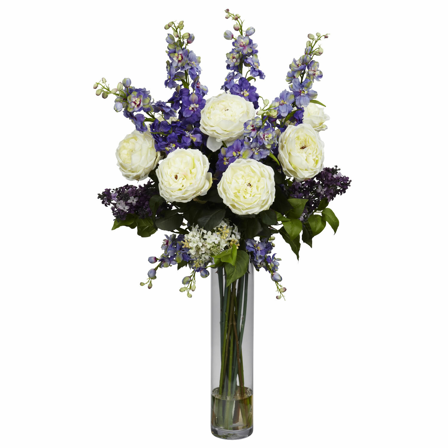 Nearly Natural Rose Delphinium And Lilac Silk Floral Arrangement