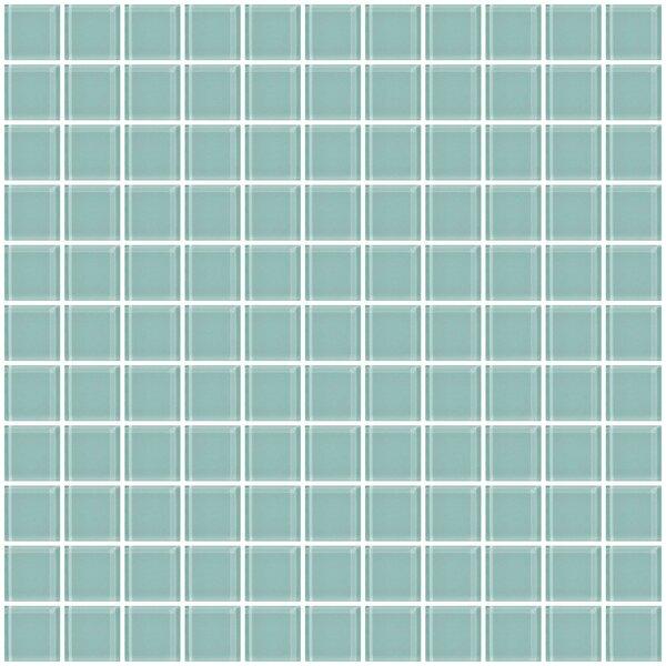 1 x 1 Glass Mosaic Tile in Light Aqua Blue by Susan Jablon