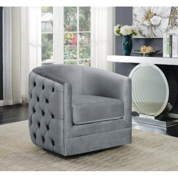 Patmos Swivel Barrel Chair by Everly Quinn