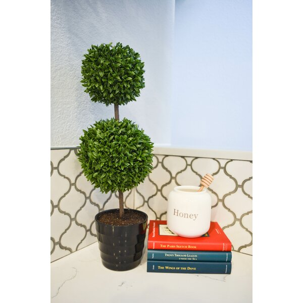 18 Tall Artificial Tabletop Double Ball Shaped Boxwood Topiary in Pot by Admired by Nature
