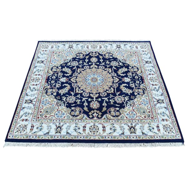 One-of-a-Kind Nain Hand-Knotted Navy/Ivory Area Rug by Bloomsbury Market