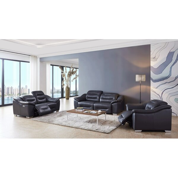 Rafe Reclining 3 Piece Leather Living Room Set by Orren Ellis