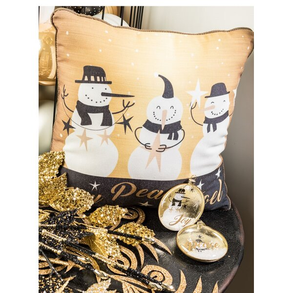 Serena Joy Peace Noel Snowmen Throw Pillow by The Holiday Aisle