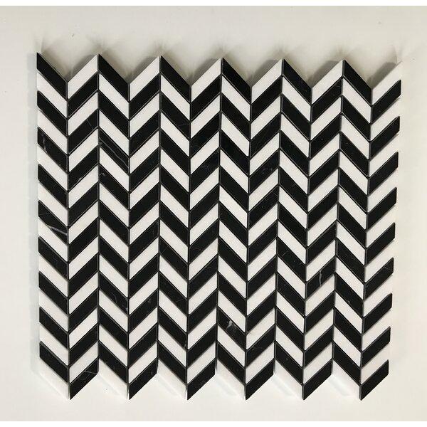 Thassos Mini Chevron 0.38 x 1.38 Marble Mosaic Tile in White/Black by La Maison en Pierre