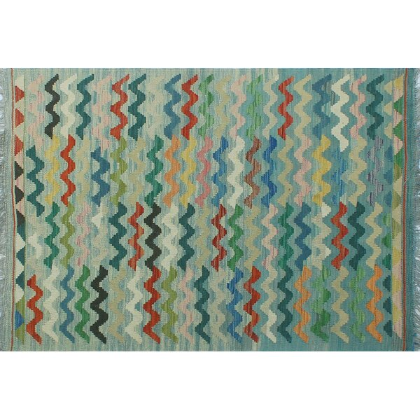 Corda Hand-Knotted Wool Blue/Green/Orange Area Rug by Bungalow Rose