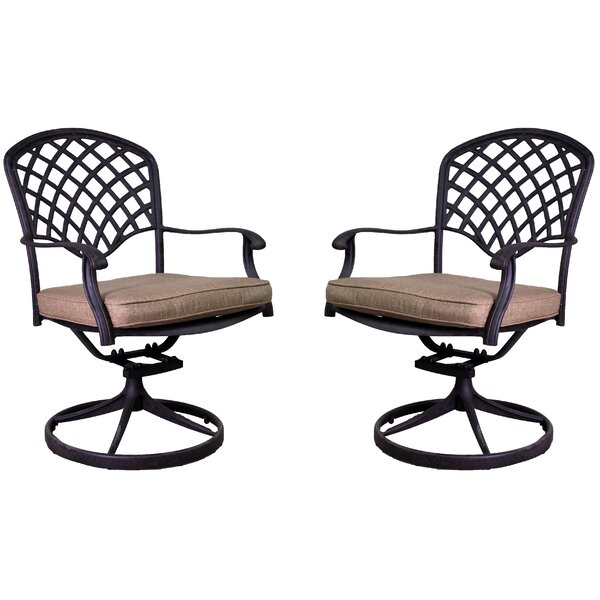 Idalou Swivel Patio Dining Chair with Cushion (Set of 2) by Fleur De Lis Living