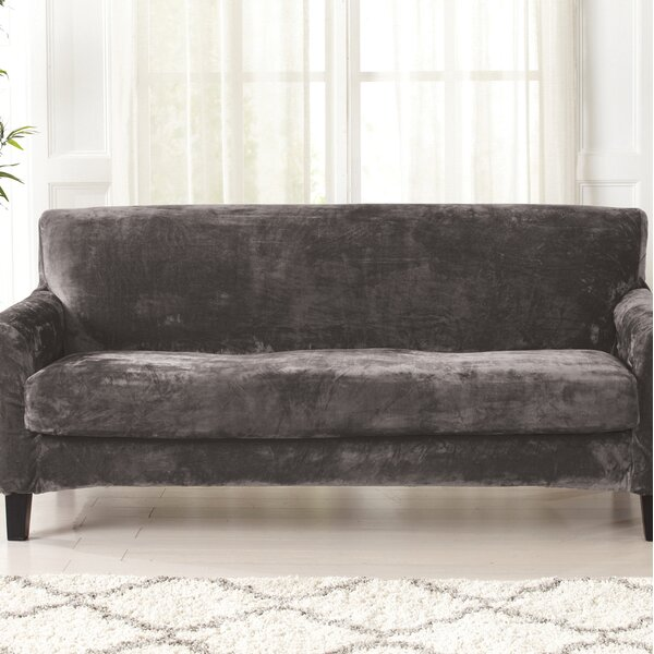 Velvet Plush Box Cushion Sofa Slipcover by Canora Grey