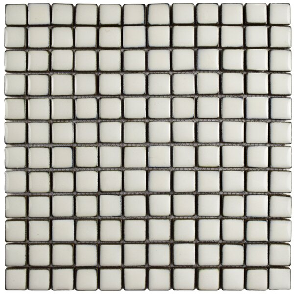 Essentia 12 x 12 Square Porcelain Mosaic Floor and Wall Tile in Ivory White by EliteTile