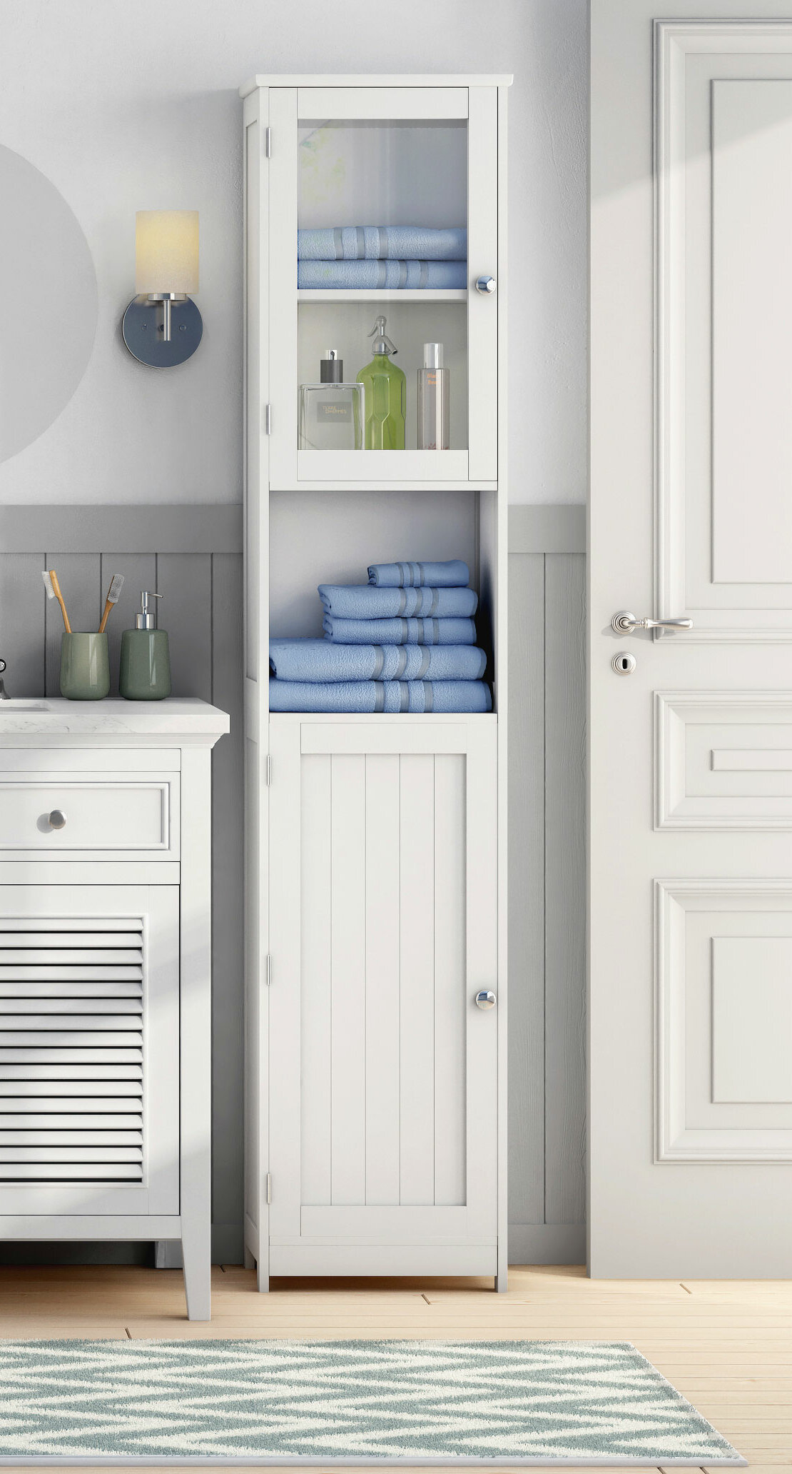 All Home 40 x 189cm Free Standing Tall Bathroom Cabinet & Reviews | Wayfair.co.uk