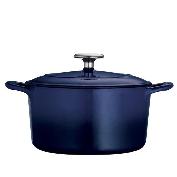 Gourmet Enameled Cast Iron 5 5 Qt Round Dutch Oven By Tramontina.