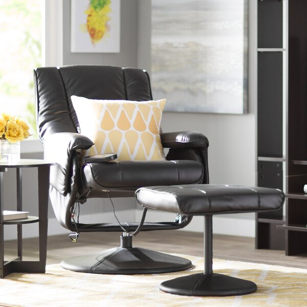 Reclining Heated Massage Chair with Ottoman by Zip