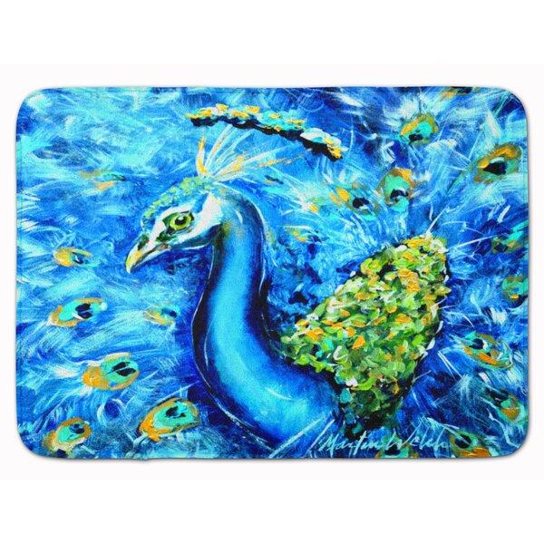 Peacock Straight Up Rectangle Microfiber Non-Slip Bath Rug