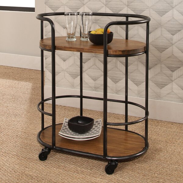 Roussillon Industrial Wood Iron Bar Cart by Gracie Oaks Gracie Oaks