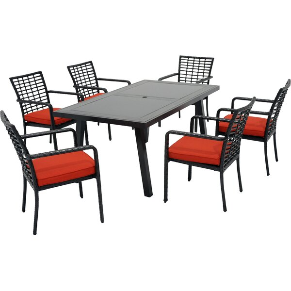 Melrose 7 Piece Dining Set with Cushions by Meadow Decor