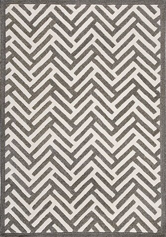 Tracks Grey & Ivory Area Rug by Hokku Designs