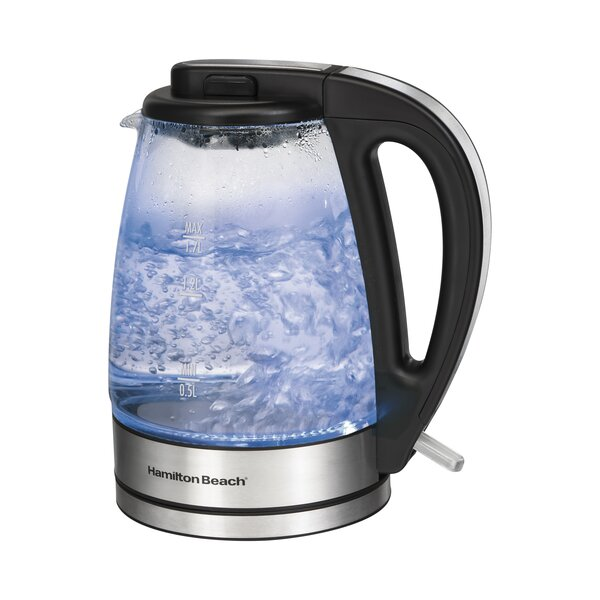 1 8 Qt Glass Electric Kettle By Hamilton Beach.